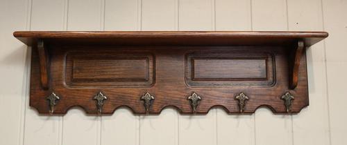French Oak Wall Shelf With Hooks (1 of 5)