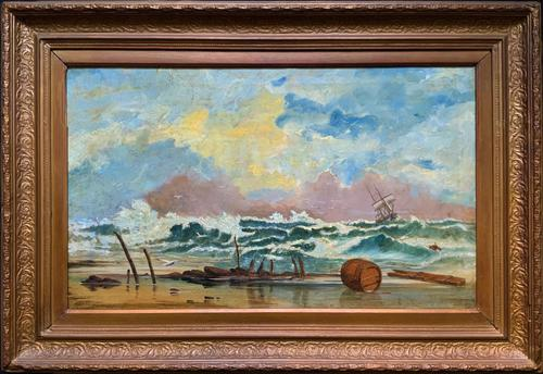 Large Spectacular 19th Century British Seascape Oil Painting - Shipwreck in Rough Seas! (1 of 13)