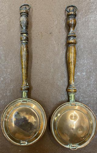 Pair of Miniature Copper Bed Warming Pans (1 of 6)