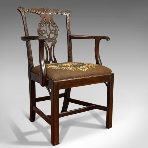 Antique Carver Chair, English, Mahogany, Needlepoint, Elbow, Chippendale Style (1 of 12)