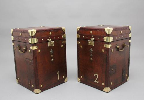 Pair of early 20th century leather bound ex army trunks (1 of 10)