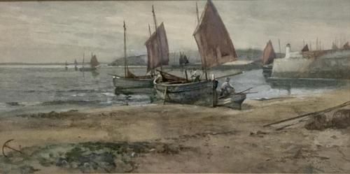 Joseph Hughes Clayton Watercolour - Fishing Vessels St Ives Cornwall' (1 of 2)