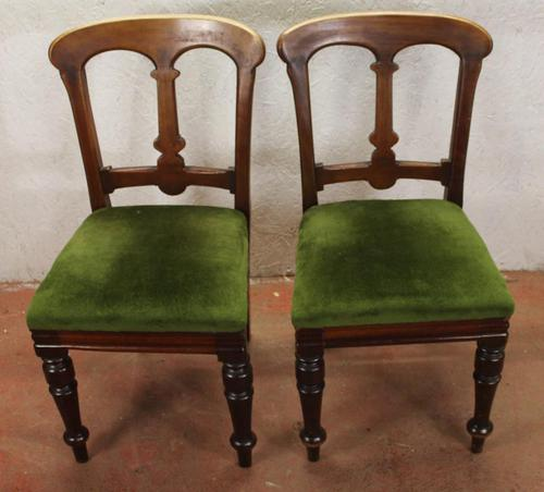 1910's Pair of Occasional Mahogany Chairs in Green (1 of 3)