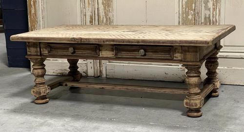 Rustic French Bleached Oak Coffee Table with 2 Drawers (1 of 19)