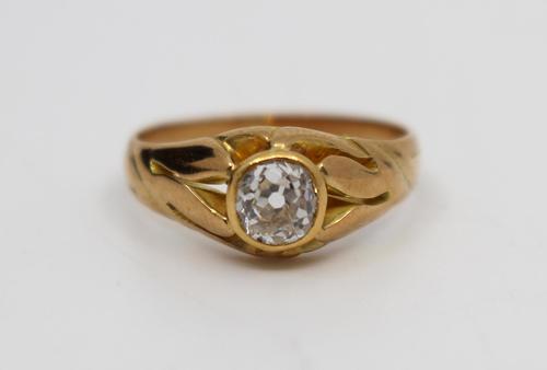 Early 20th Century 15ct Rose Gold 0.52 Carat Diamond Ring (1 of 8)