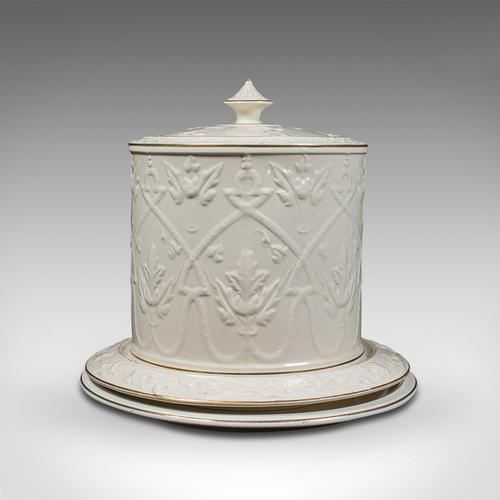 Antique Stilton Dome, English, Ceramic, Cheese Keeper, Cracker Plate, Victorian (1 of 12)
