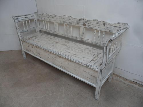 Shabby Chic White 3 Seater Antique Pine Kitchen/ Hall Box Settle / Bench (1 of 10)
