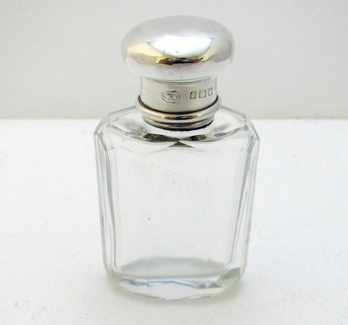 20s Solid Sterling Silver & Cut Glass Scent Perfume Bottle, Plain, English 20th Century (1 of 5)