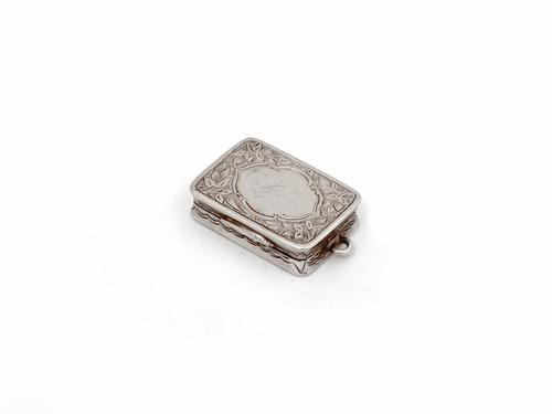George Unite Victorian Silver Vinaigrette Beautifully Engraved with Floral Scenes (1 of 6)