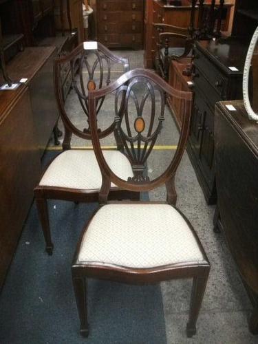 Pair of Shield Back Inlaid Mahogany Chairs (1 of 4)