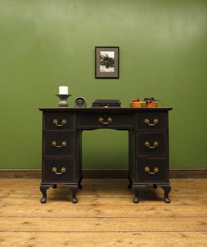 Antique Black Painted Writing Desk, Gothic Shabby Chic (1 of 18)