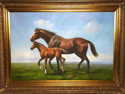 Huge Great English Canvas Portrait Mare Horse with Foal Picture after Neil Cawthorne (1 of 2)