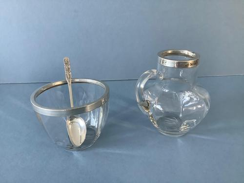 Antique Edwardian Silver-Rimmed Jug and Bowl (1 of 7)