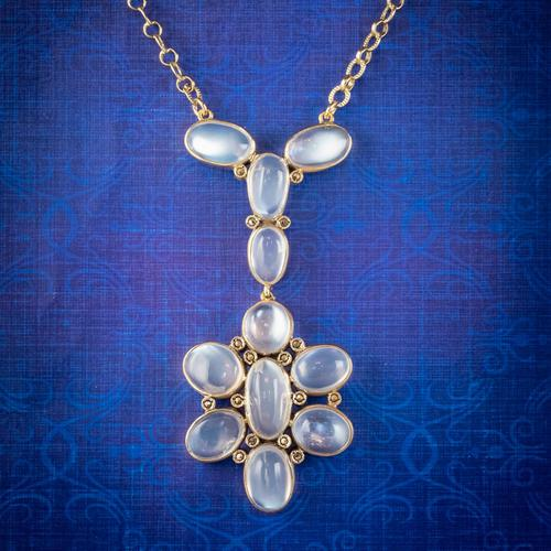 Antique Victorian Moonstone Lavaliere Pendant Necklace Silver 18ct Gold Gilt c.1880 (1 of 6)