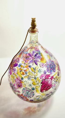 1960s Hand Painted Demi John Lamp with Floral Pattern (1 of 22)