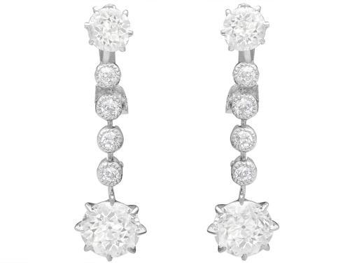 2.42ct Diamond & Platinum Drop Earrings c.1925 (1 of 9)