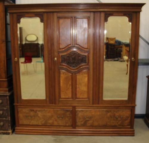 1920's Large Walnut Mirrored Compactum Wardrobe (1 of 5)