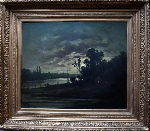 R T Stuart c1870 French Barbizon School Landscape Oil Painting (1 of 8)