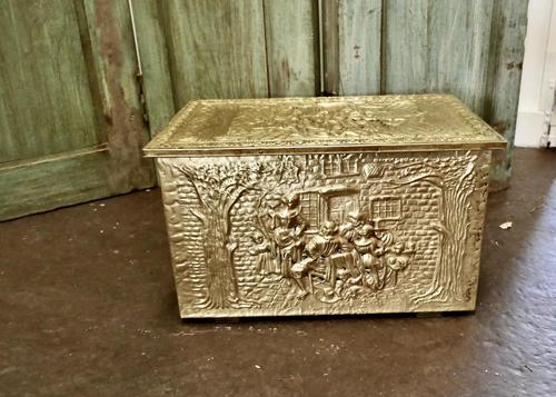 Embossed Brass Log or Coal Box, or Slipper Box with Tavern Scenes (1 of 6)