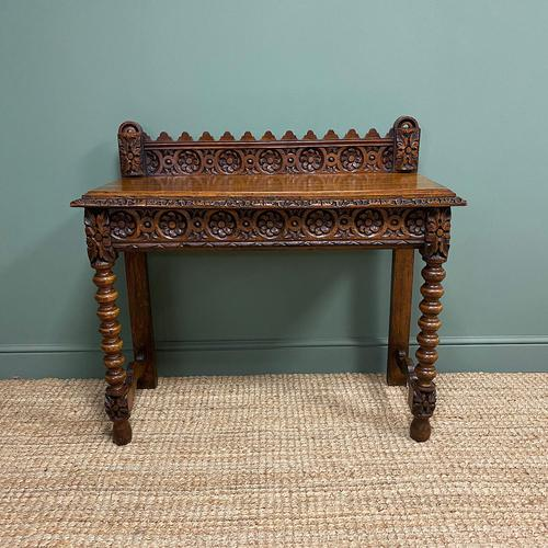 Stunning Carved Oak Victorian Antique Hall Table (1 of 8)