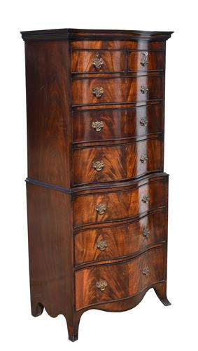 Edwardian Flame Mahogany Serpentine Chest on Chest (1 of 6)
