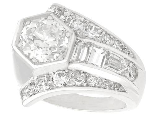 3.24ct Diamond & Platinum Cocktail Ring - Art Deco c.1935 (1 of 9)