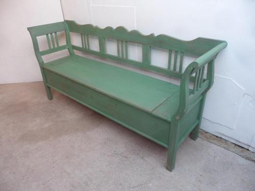 Large 3/4 Seater Painted Light Green Antique Pine Kitchen / Hall Box Settle / Bench (1 of 9)