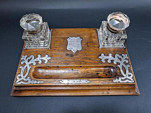 Edwardian Silver Mounted Inkwell & Stand (1 of 6)