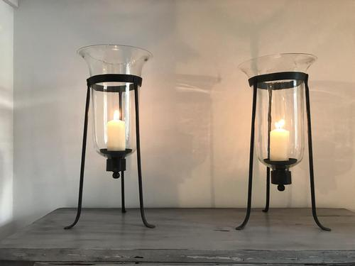 Pair of 19th Century Wrought Iron Tripod Storm Lanterns with Hand Blown Glass (1 of 3)
