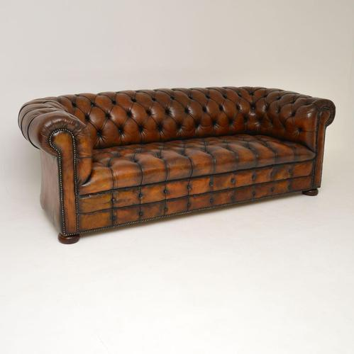 Antique Deep Buttoned Leather Chesterfield Sofa (1 of 9)
