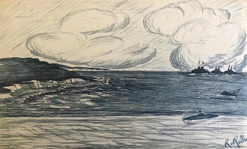 Original monochrome watercolour of 3 1st World War battleships and in the foreground a submarine and a sinking ship. Initialled R.R.S. 1917 (1 of 2)