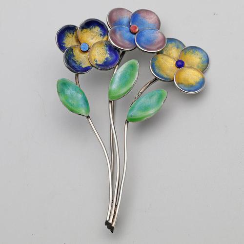 Bernard Instone Silver & Enamel Flower Brooch (1 of 3)