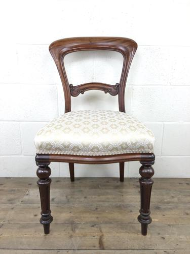 Single Victorian Mahogany Chair with Fabric Seat (1 of 10)
