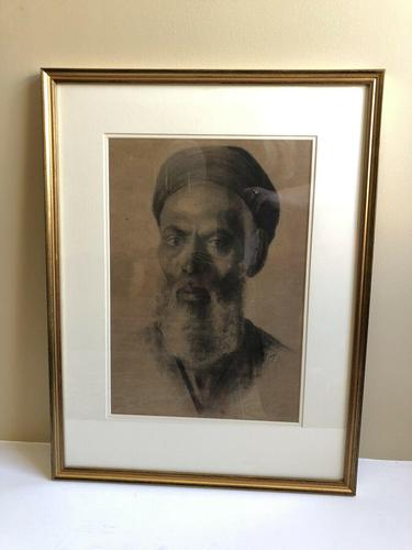 Charcoal Painting Of Man In Turban, Signed And Framed (1 of 9)