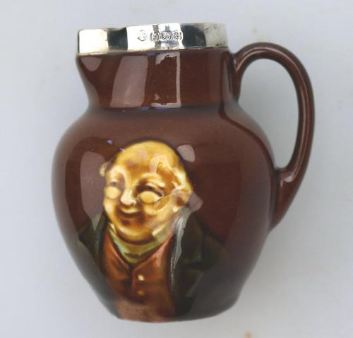 A Royal Doulton Miniature Mr Pickwick Small Kingsware Jug Solid Silver C.1907 (1 of 7)