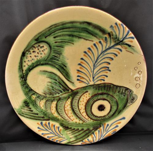Large Spanish Art Pottery Fish Plate, Puigdemont Catalonia c.1950 (1 of 5)