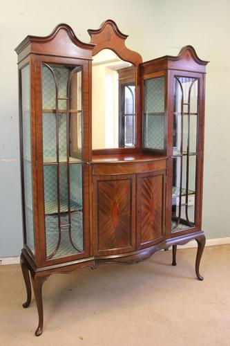 Antique Quality Shaped Mahogany Mirror Back Display Cabinet (1 of 7)
