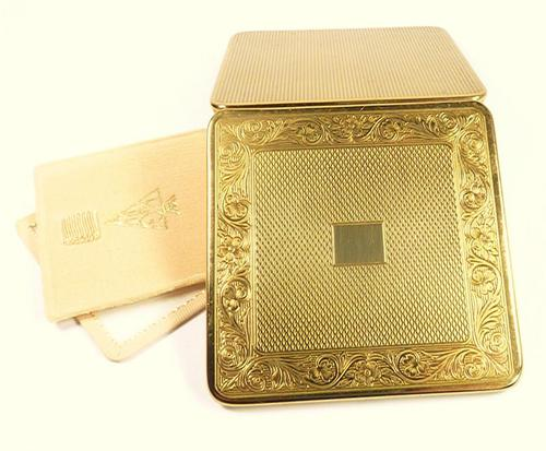 1950s Gilded Brass Compact For Loose Foundation Unused (1 of 7)