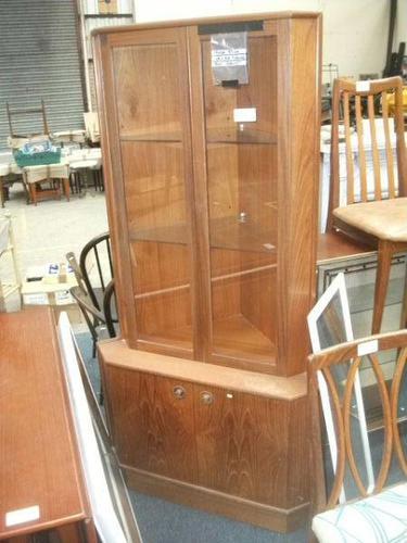 Glazed Teak Corner Cabinet (1 of 2)
