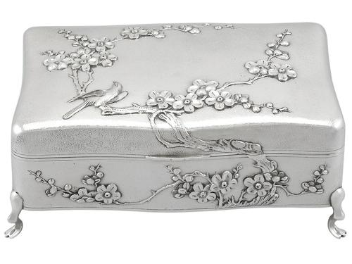 Chinese Export Silver Jewellery Box - Antique c.1895 (1 of 9)