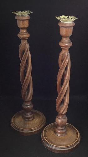 Pair of Tall Edwardian Mahogany Open Twist Candlesticks (1 of 6)