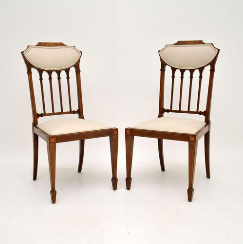 Pair of Antique Edwardian Inlaid Mahogany Side Chairs (1 of 10)
