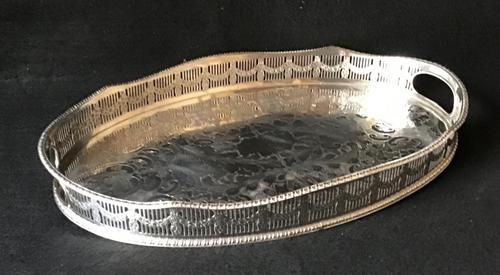 Chased Silver Plated Reticulated Oval Butlers Tray (1 of 5)