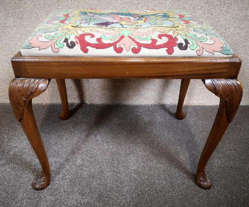 Carved Walnut Cabriole Leg Stool in the Queen Anne Style (1 of 8)