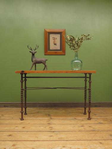 Wrought Iron & Wood Console Table with Glass Insert (1 of 14)