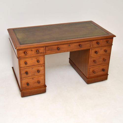 Antique Victorian Mahogany  Leather Top Pedestal Desk (1 of 11)