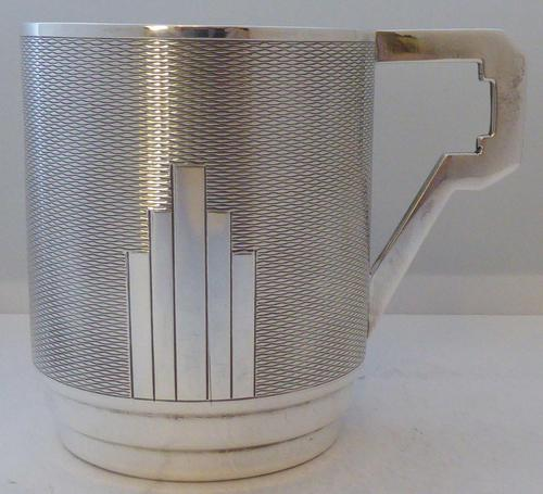 Art Deco 1932 Hallmarked Solid Silver Christening Mug Tankard Mint Condition (1 of 9)