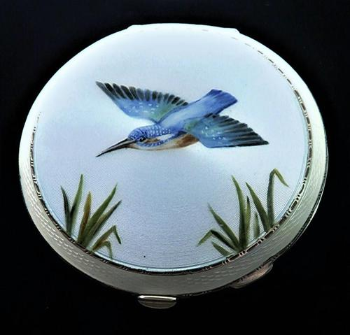 Hallmarked Sterling Silver Kingfisher Compact Mirror 1960s (1 of 8)