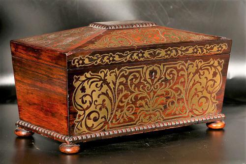 Exceptional Regency Period Brass Inlaid Tea Caddy (1 of 5)