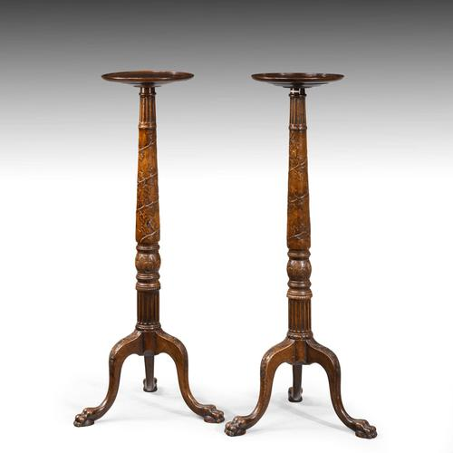 A Handsome Pair of Late 19th Century Mahogany Torcheres (1 of 5)